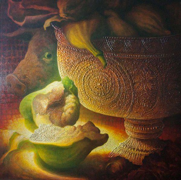 L'onesto maiale - OLIO SU TELA, 130x130 cm